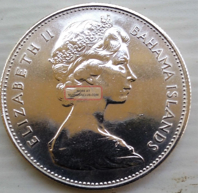 Bahamas 1 Dollar Coin 1966 Conch Shell Silver Elizabeth