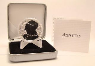 Latvia Jazeps Vitols 1 Lats 2013 Silver Collector Coin - 1137 photo