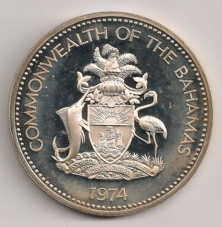 Commonwealth Of Bahamas Ten Dollar Silver Independence Day Coin 1974 photo