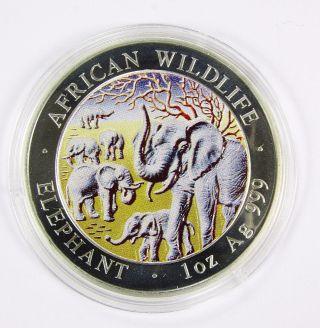 2008 Somalia Elephant Colorized Silver Coin photo