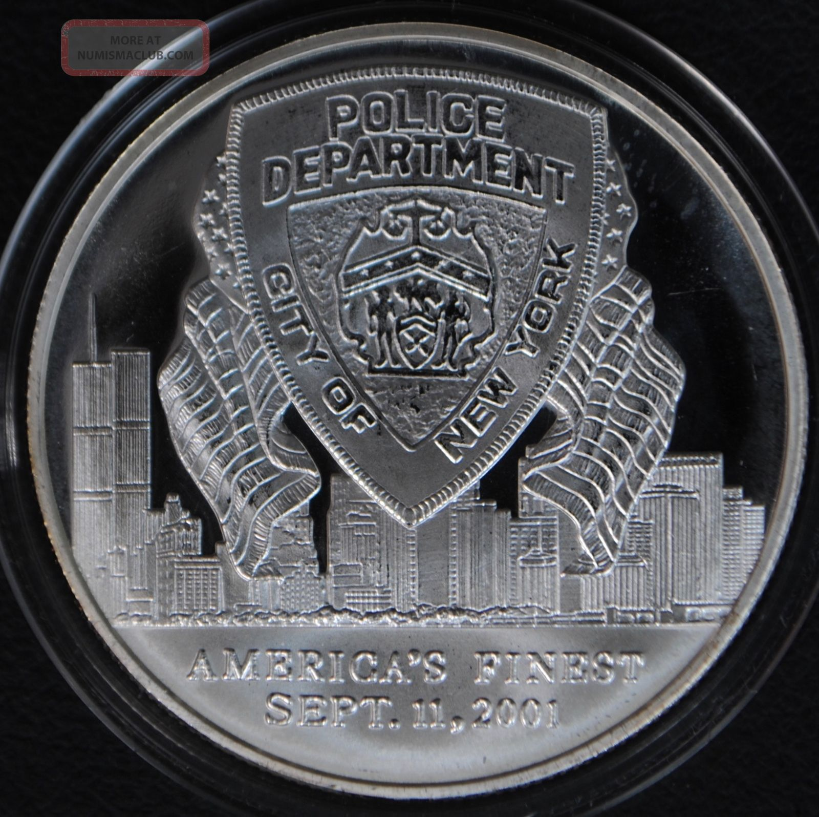 9/11 York Police Department 1 Oz.  999 Silver Round Medal Pledge Nypd Silver photo