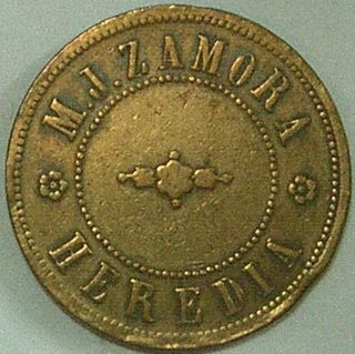 Costa Rica,  Heredia (1880 - 1890) M.  J.  Zamora 15 Cajuelos Coffee Token photo