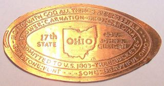 Rab - 5: Vintage Elongated Cent: Ohio / 17th State / Admitted To Us 1803 photo
