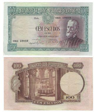 Portugal Banknote 100$00 1957 Pick - 159 Pedro Nunes Gkg 19059 photo