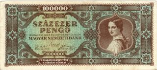 Hungarian Monarchy Inflation Banknote,  100000 Pengö,  Not Circulated photo