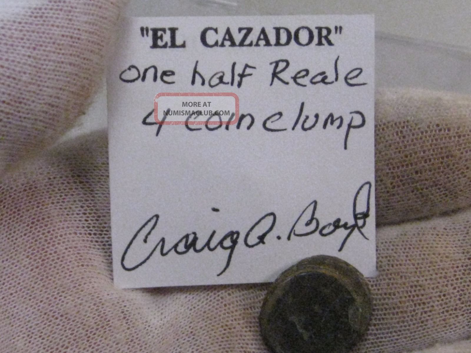 4 Coin Clump Silver 1 2 Reales From The El Cazador