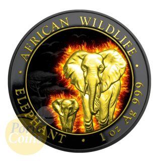 2015 1 Oz Fine Silver Burning Elephant Somalia Ruthenium Finish 24k Gold Box&coa photo