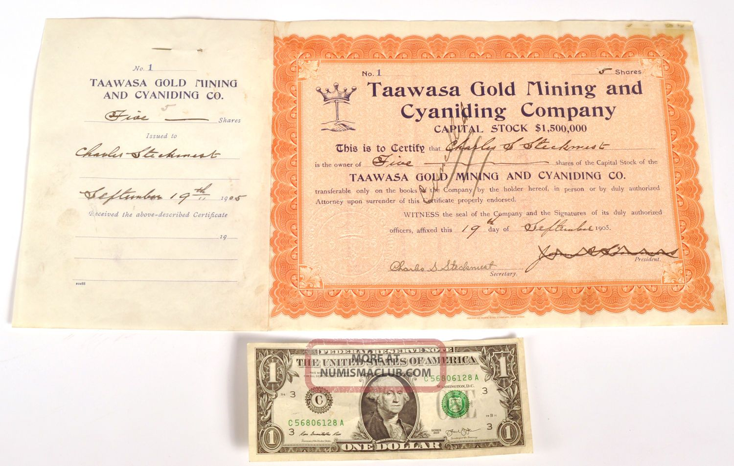Rare 1905 Taawasa Gold Mining Cyaniding Company Stock Certificate No.  1 Colorado Stocks & Bonds, Scripophily photo