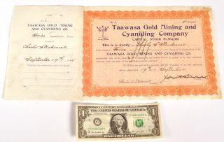 Rare 1905 Taawasa Gold Mining Cyaniding Company Stock Certificate No.  1 Colorado photo