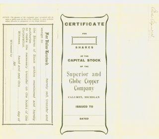 1920 Stock Certificate - Superior And Globe Copper Company - Calumet,  Michigan photo