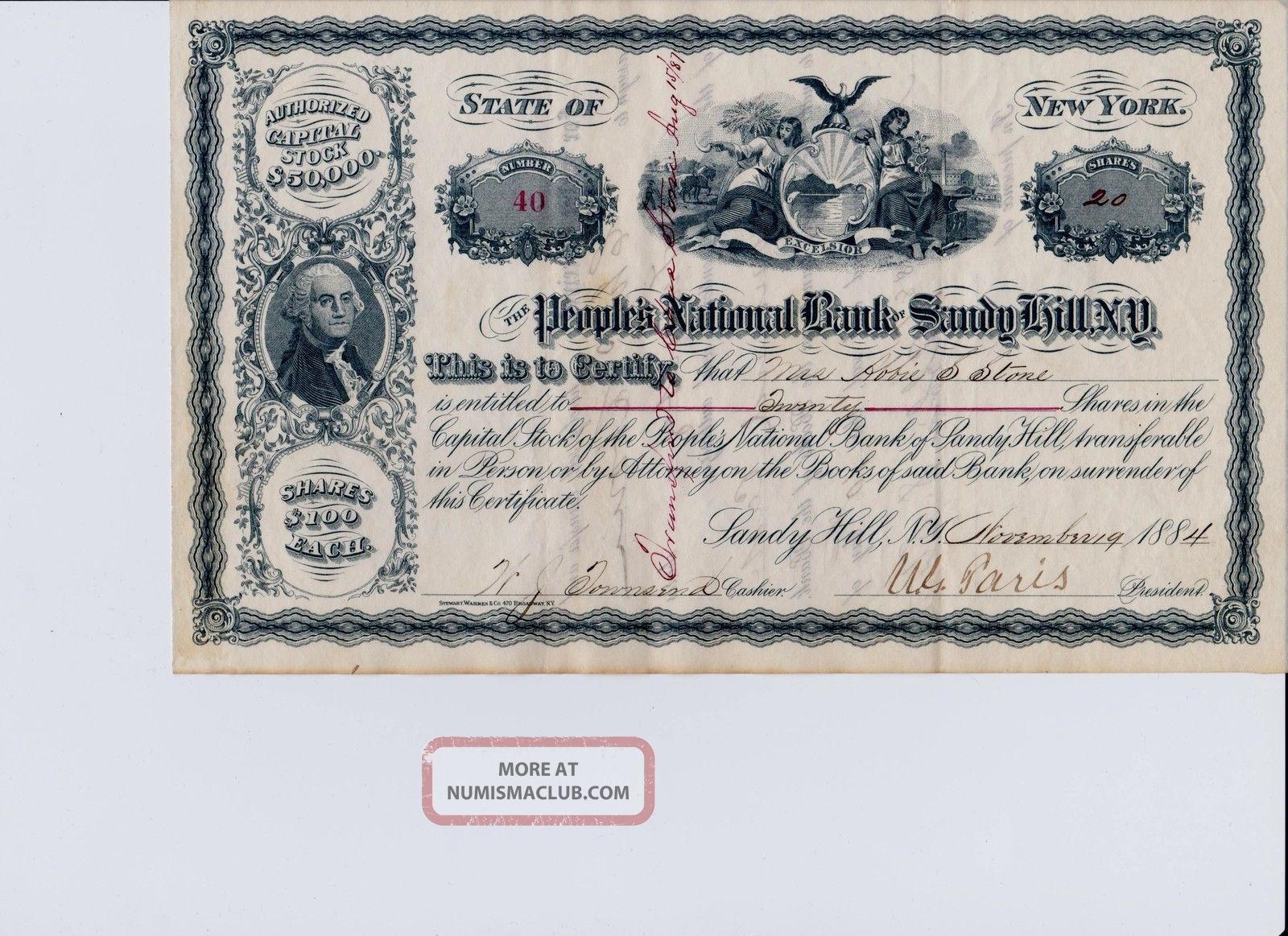 Peoples National Bank Of Sandy Hill,  Ny.  Stock Certificate Issued 11/19/1884 Stocks & Bonds, Scripophily photo