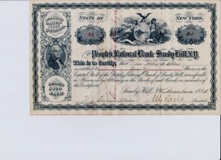 Peoples National Bank Of Sandy Hill,  Ny.  Stock Certificate Issued 11/19/1884 photo