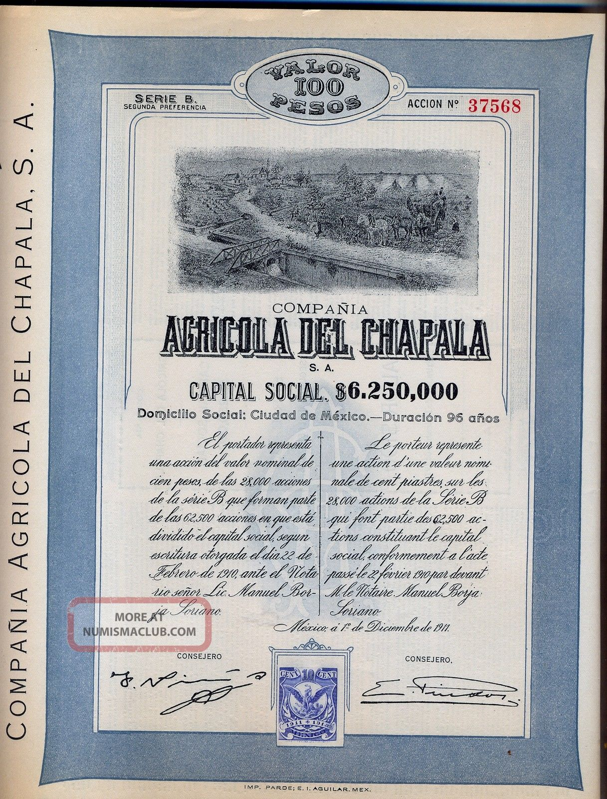 Compania Agricola Del Chapala Bond Stock Certificate 1911 Mexico Coupons World photo