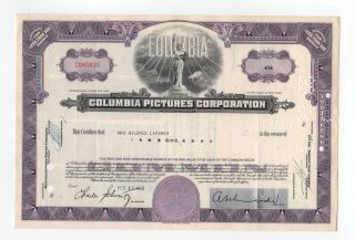 Columbia Pictures Corporation Stock Certificate photo