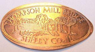 Eco - 8:vintage Elongated Cent:thompson Mill Bridge Shelby Co.  Il (covered Bridge) photo