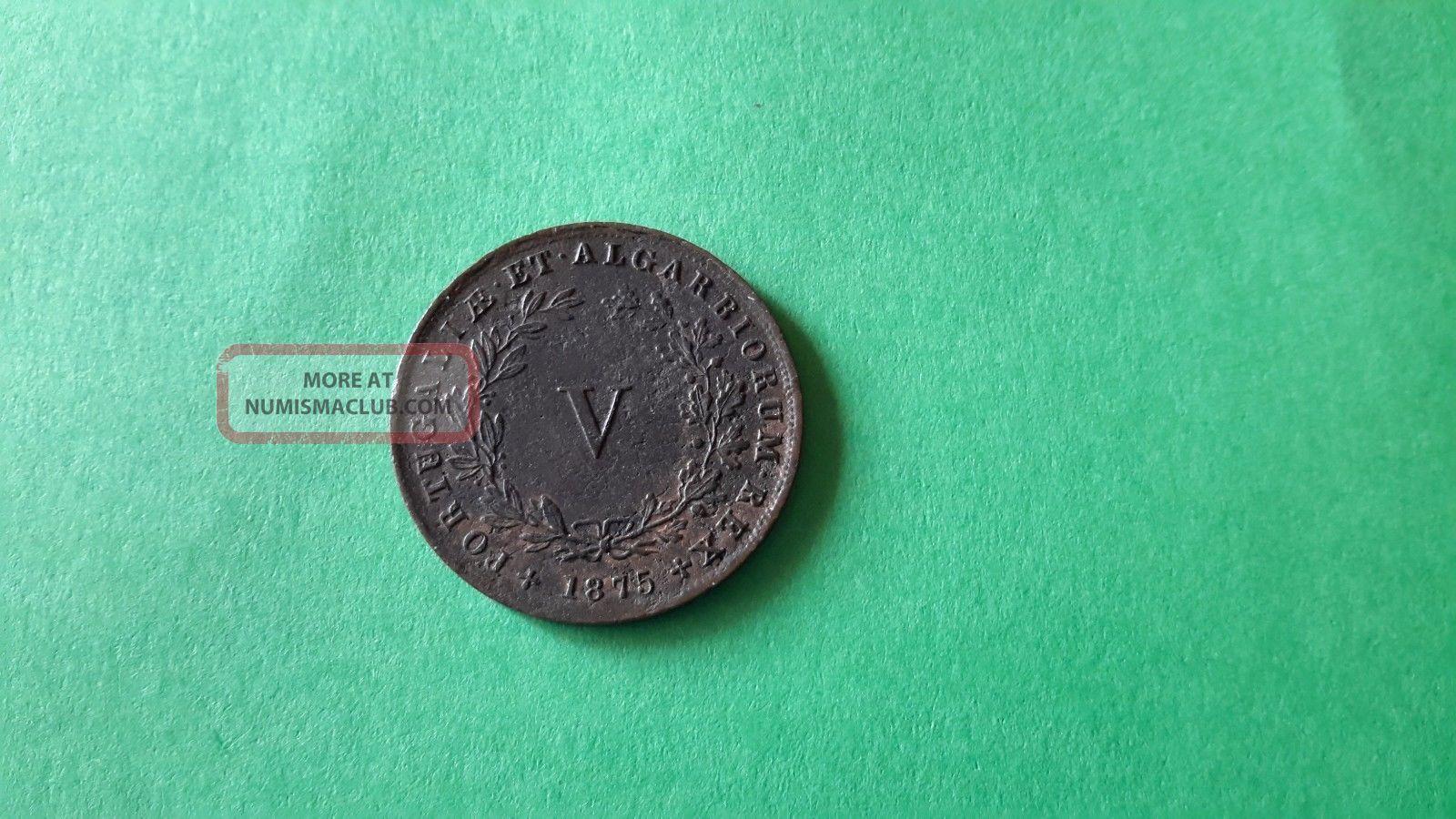 0.  578 Portuguese Coin Portugal V Reis D.  Luis I 1875 Europe photo