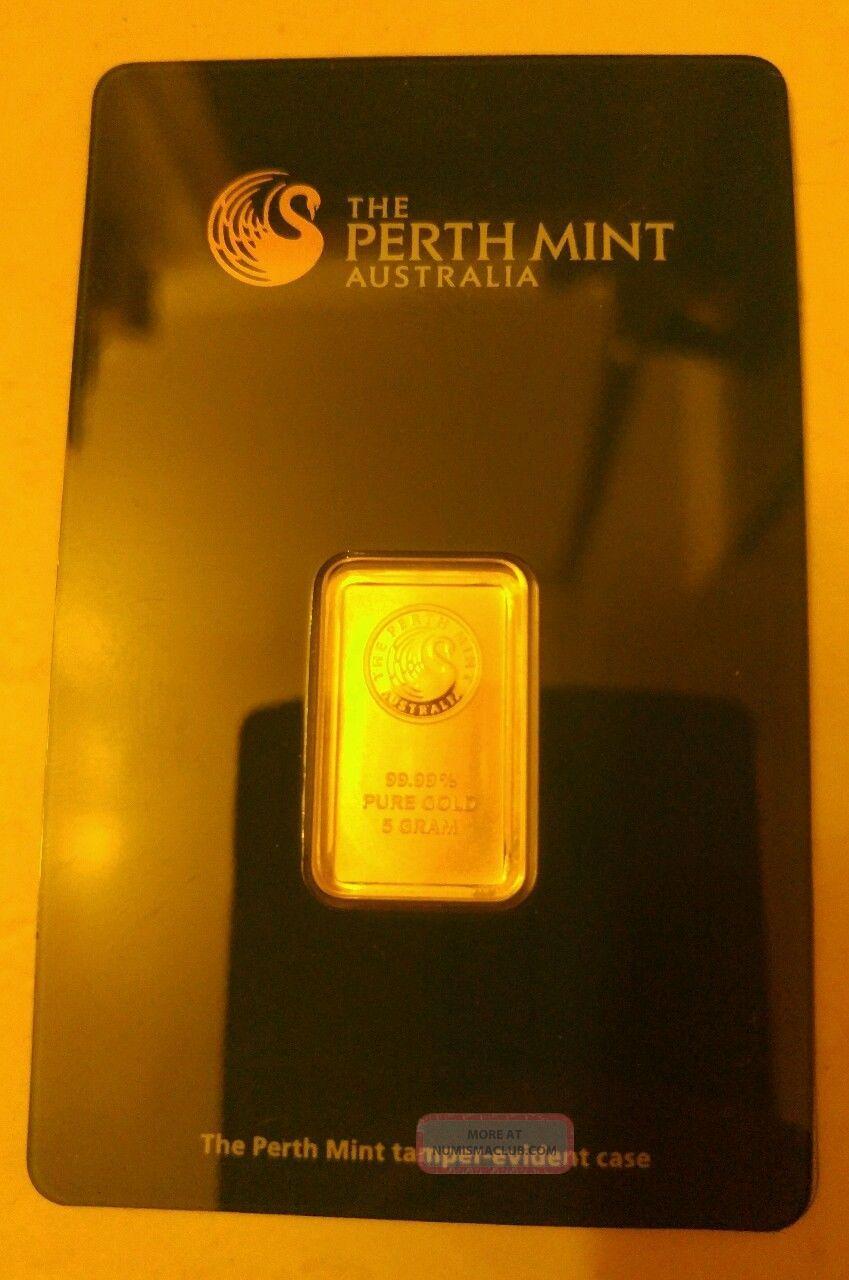 5 Gram Perth Gold Bar.  9999 Fine (in Assay) Gold photo