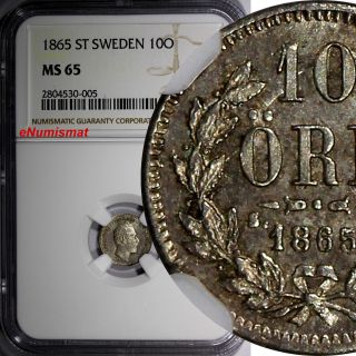 Sweden Carl Xv Adolf Silver 1865 St 10 Ore Ngc Ms65 Top Graded By Ngc Km 710 photo