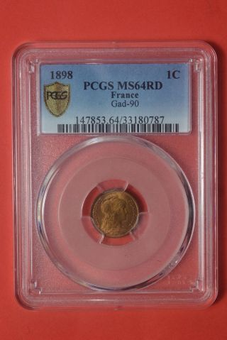 1 Centime Dupuis 1898 Pcgs Ms 64 Rd Red Bu Coin photo