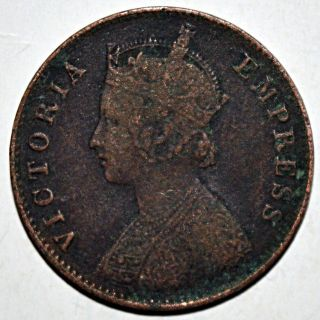 British India Queen Victoria One Quarter Anna 1900 Copper Coin Very Rare - 6.  38 photo