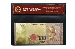 Malaysia 100 Ringgit Colored Gold Banknote Pure 999 24k Gold Paper Bill photo