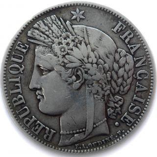 France Coin,  1849 A,  Paris,  5 Francs Silver,  Ceres,  Grade Vf, photo