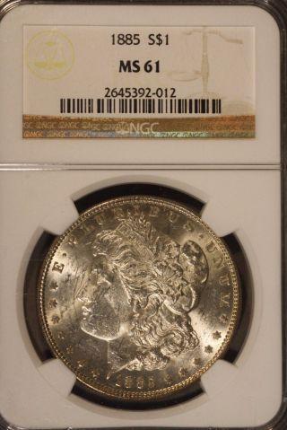 1885 Morgan Silver Dollar Ngc Ms 61,  Rainbow Toning Rev U.  S photo