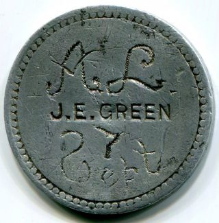 Montana,  Willow Creek - C1893 - 1900 J.  E.  Green 5c Token Rare photo