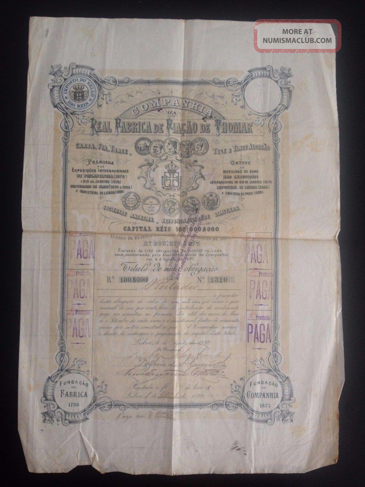 Portuguese Antique Stock Bond Action Portugal Industrial Fabrica FiaÇÃo De Tomar Stocks & Bonds, Scripophily photo