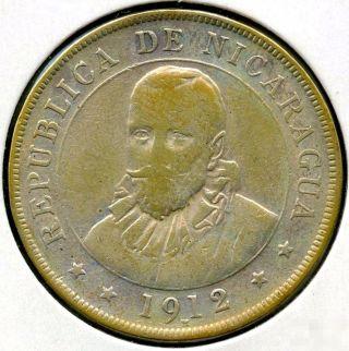Nicaragua 1912 H Silver Coin - 50 Centavos - En Dios Confiamos - Wfc Af532 photo