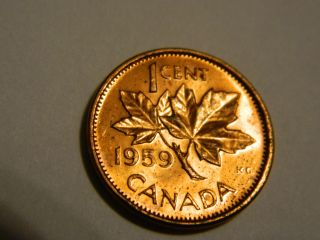 1959 Canada One Cent Penny Red Ms/unc - - Nr photo