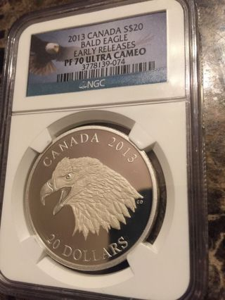 2013 Canada $20 Bald Eagle Portrait Of Power Pf70 Ultra Cameo Er Silver photo