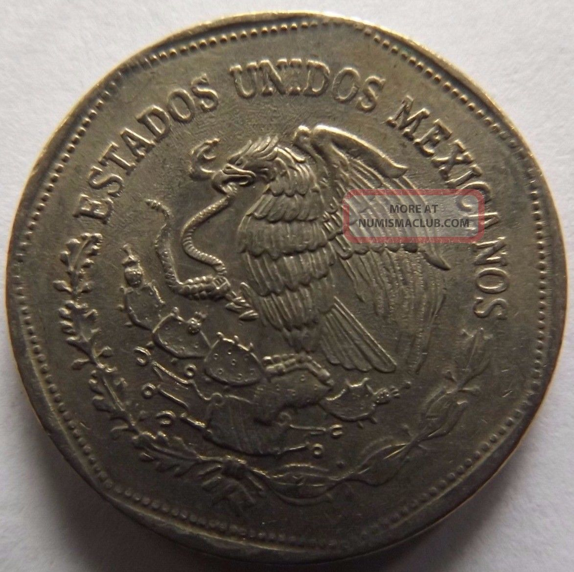 1980 Mexico 5 Pesos Native Sculpture On Coin