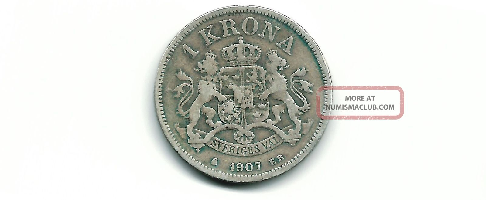 Sweden 1907 Eb 1 Krona Silver Coin Sweden photo