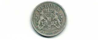 Sweden 1907 Eb 1 Krona Silver Coin photo