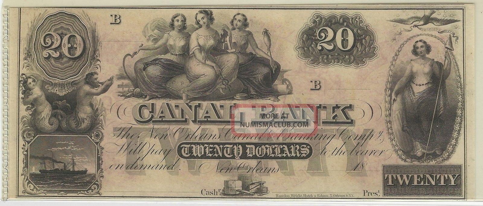 Canal Bank,  Orleans,  La,  Remainder Note,  1800 ' S - $20 - 01 Paper Money: US photo