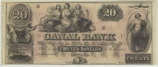 Canal Bank,  Orleans,  La,  Remainder Note,  1800 ' S - $20 - 01 photo