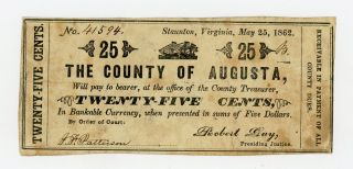 1862 25c The County Of Augusta - Staunton,  Virginia Note Civil War Era photo