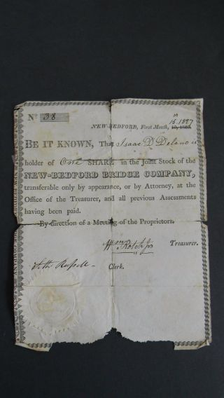 1827 Bedford Bridge Company Stock Certificate photo