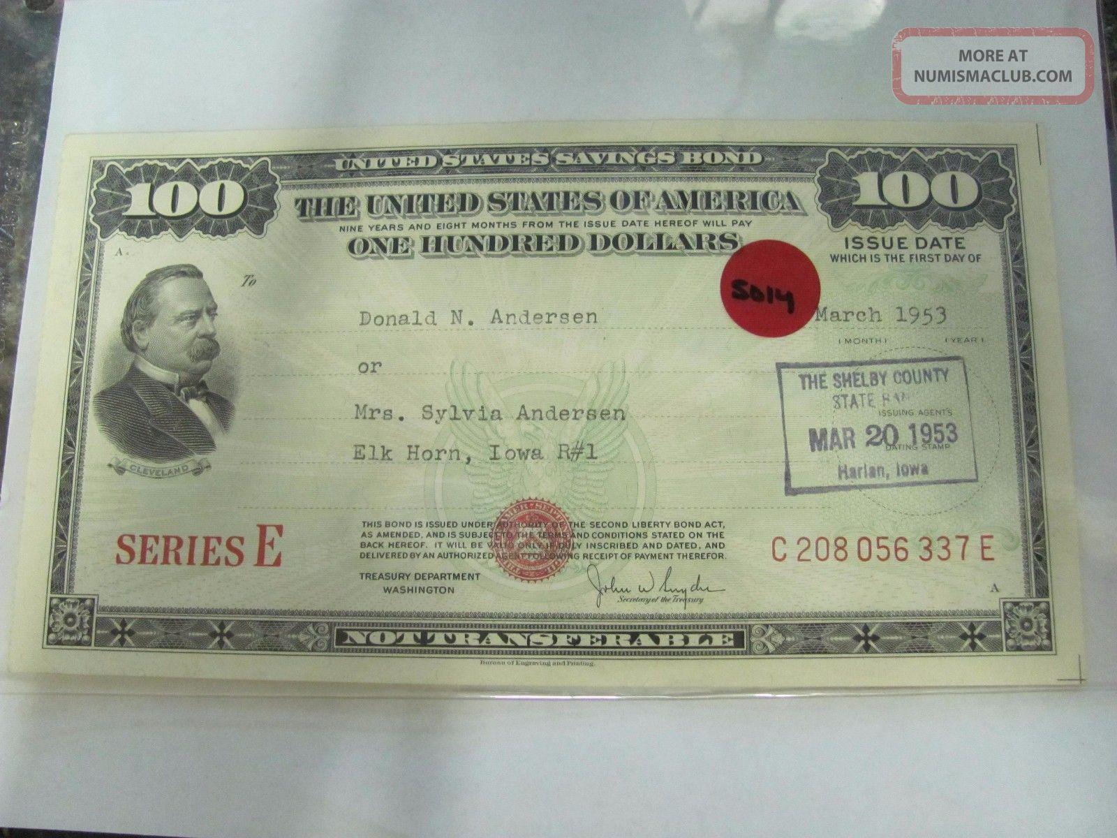 , 5014 Old Pawn 1953 $100 United States Savings Bond Series E Stocks & Bonds, Scripophily photo