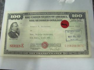 , 5014 Old Pawn 1953 $100 United States Savings Bond Series E photo