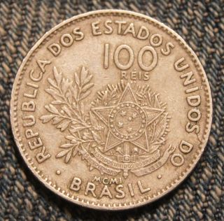 Brazil - 100 Reis - 1901 - Xf Ef - Lamination Error By