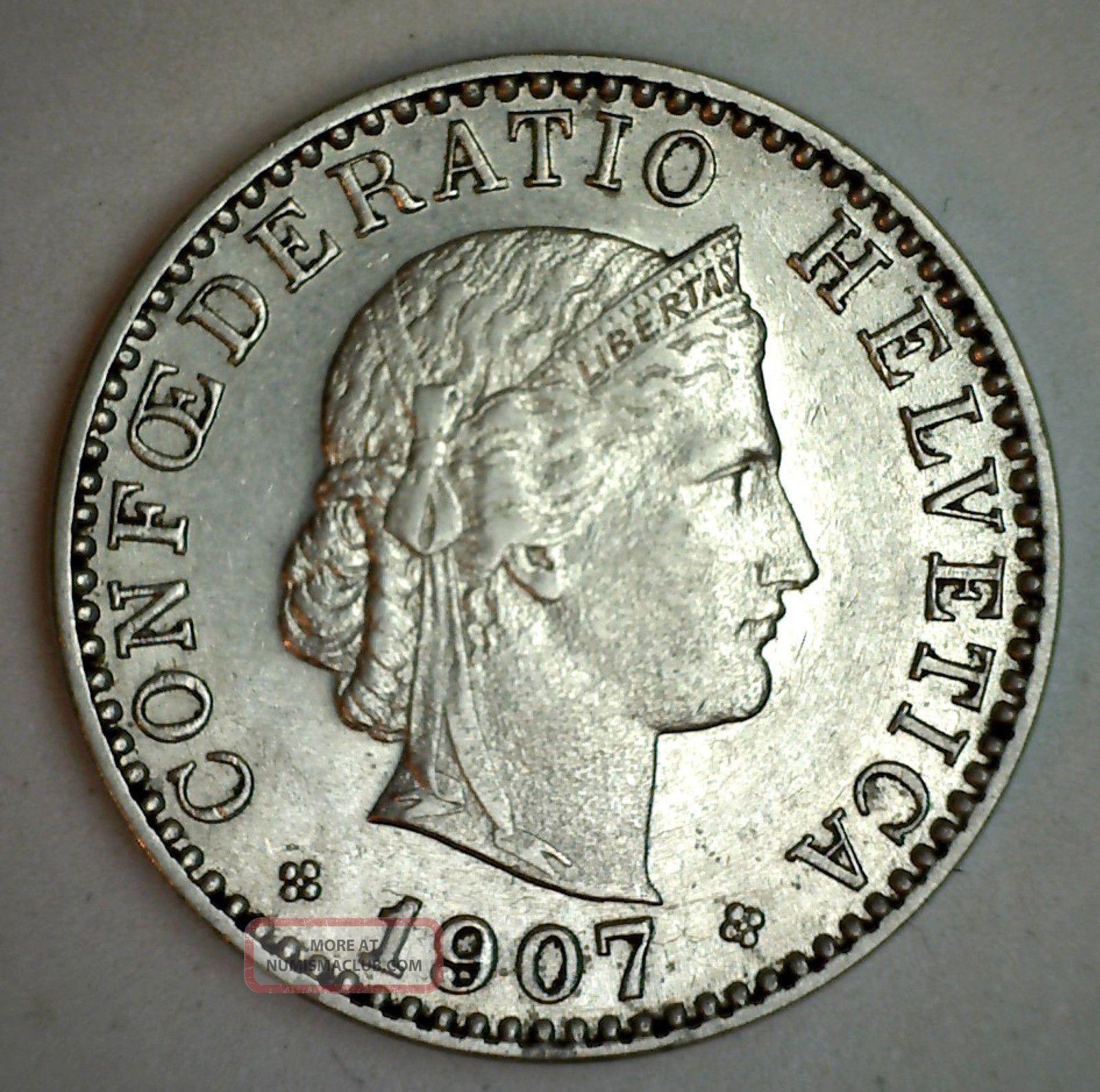 1907 B Nickel Switzerland 20 Rappen Swiss Helvetia Coin Au Europe photo