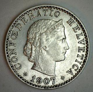 1907 B Nickel Switzerland 20 Rappen Swiss Helvetia Coin Au photo