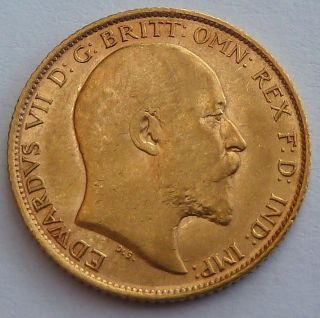 Great Britain - Australia 1/2 Gold Sovereign 1908 3.  99 Gr.  0.  1177 Oz.  0.  917 Gold photo