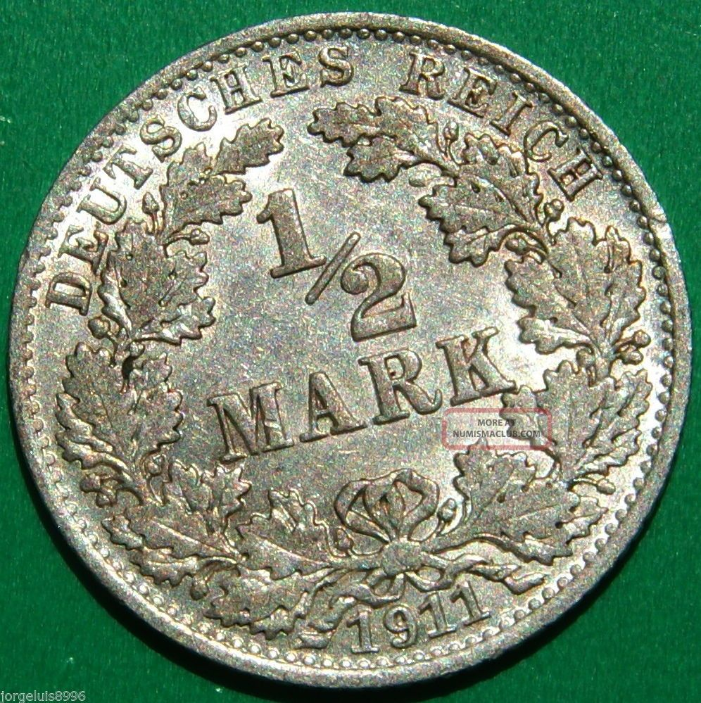 German Empire Silver Coin 1/2 Mar.  900 Fein Silver 1911 A Germany photo