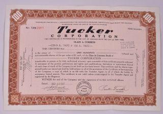 Vintage Tucker Car Corporation Stock Certificate 1947 - Scripophily photo
