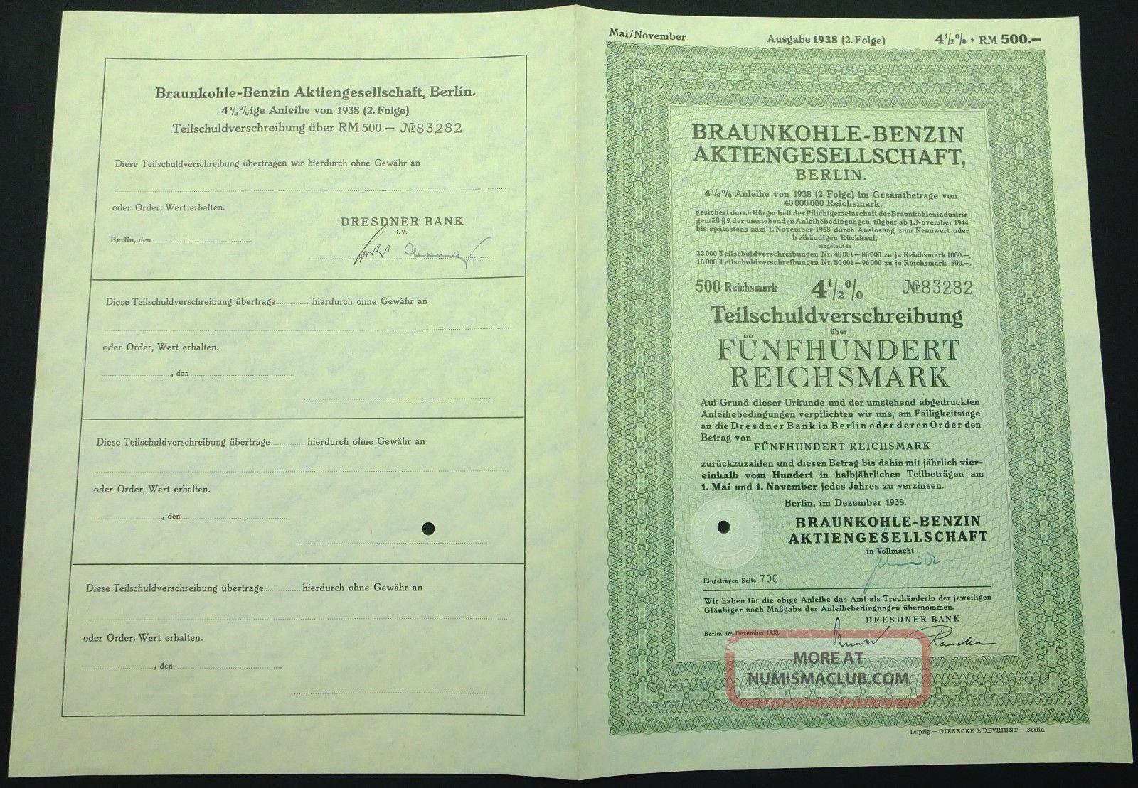 Braunkohle - Benzin Ag,  Berlin 12/1938 4 1/2 German Bond Certificate World photo