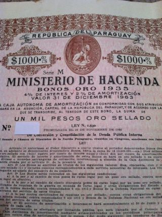 Paraguay Gold Bond 1935 $1000 With Coupons Rare photo