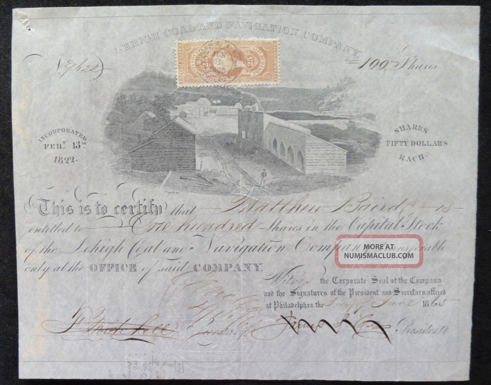 1865 Stock Certificate - Lehigh Coal & Navigation Co.  - June 3,  1865 (100 Shares) Stocks & Bonds, Scripophily photo
